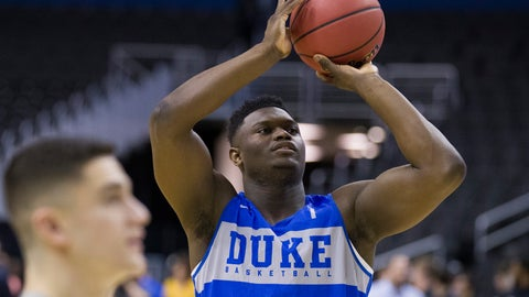 <p>               Duke forward Zion Williamson shoots during an NCAA men's college basketball practice in Washington, Thursday, March 28, 2019. Duke plays Virginia Tech in an East Regional semifinal game on Friday. (AP Photo/Alex Brandon)             </p>
