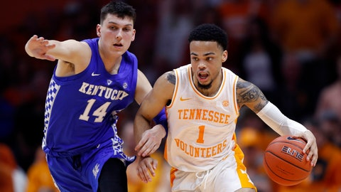 <p>               Tennessee guard Lamonte Turner (1) drives against Kentucky guard Tyler Herro (14) during the second half of an NCAA college basketball game Saturday, March 2, 2019, in Knoxville, Tenn. Tennessee won 71-52. (AP Photo/Wade Payne)             </p>
