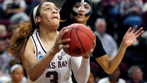 <p>               Texas A&M's Chennedy Carter (3) shoots as Wright State's Michal Miller defends during the second half of a first round women's college basketball game in the NCAA Tournament Friday, March 22, 2019, in College Station, Texas. Texas A&M won 84-61. (AP Photo/David J. Phillip)             </p>