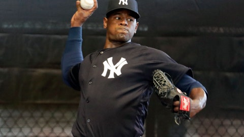 <p>               FILE - In this Feb. 14, 2019, file photo, New York Yankees starting pitcher Luis Severino throws in the bullpen at the Yankees spring training baseball facility, in Tampa, Fla. Severino has been scratched from his first scheduled spring training start due to right shoulder discomfort. Severino was slated to face the Atlanta Braves on Tuesday, March 5, 2019,  but was replaced by Stephan Tarpley.(AP Photo/Lynne Sladky, File)             </p>