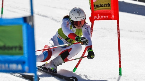 <p>               Switzerland's Wendy Holdener competes during an alpine ski, World Cup team event, in Soldeu, Andorra, Friday, March 15, 2019. (AP Photo/Gabriele Facciotti)             </p>
