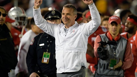 <p>               FILE - In this Tuesday, Jan. 1, 2019 file photo, Ohio State coach Urban Meyer celebrates at the end of the team's 28-23 win over Washington during the Rose Bowl NCAA college football game in Pasadena, Calif. Urban Meyer is headed back to television. Fox announced on Monday, March 11, 2019 that they have hired the former Ohio State coach as one of the analysts for its retooled college football pregame show. Fox also announced that it has hired Reggie Bush and will move Brady Quinn from the booth to the studio. (AP Photo/Mark J. Terrill, File)             </p>