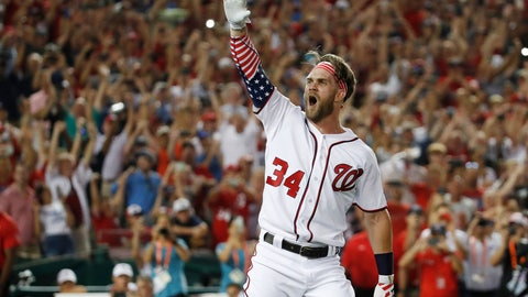 <p>               FILE - In this July 16, 2018, file photo, Washington Nationals Bryce Harper (34) reacts to his winning hit during the Major League Baseball Home Run Derby, in Washington. A person familiar with the negotiations tells The Associated Press that Bryce Harper and the Philadelphia Phillies have agreed to a $330 million, 13-year contract, the largest deal in baseball history. The person spoke to the AP on condition of anonymity Thursday, Feb. 28, 2019,  because the agreement is subject to a successful physical. (AP Photo/Alex Brandon, File)             </p>