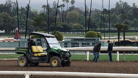 <p>               Investigators test the track surface at Santa Anita Park in Santa Anita, Calif. on Thursday March 7, 2019. Santa Anita has canceled horse racing indefinitely to re-examine its dirt surface after the deaths of 21 horses in the last two months. (AP Photo/Beth Harris)             </p>