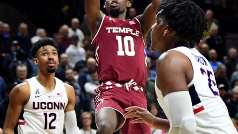 <p>               Temple's Shizz Alston Jr. (10) scores two of his 17 first-half points in the first half of an NCAA college basketball game against Connecticut, Thursday, March 7, 2019, in Storrs, Conn. (AP Photo/Stephen Dunn)             </p>