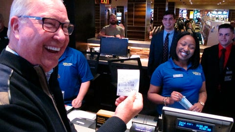 <p>               Former Philadelphia Eagles quarterback Ron Jaworski holds a ticket showing his $100 bet on the Philadelphia Phillies to win the 2019 World Series at the Tropicana casino in Atlantic City N.J. on March 8, 2019. Figures released on March 13, 2019 show New Jersey gamblers have wagered almost $2 billion on sporting events since it started nine months ago. (AP Photo/Wayne Parry)             </p>