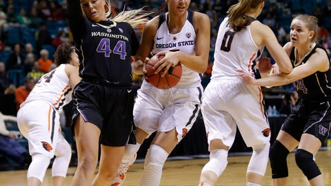 <p>               Oregon State's Taya Corosdale grabs a rebound around Washington's Missy Peterson, left, during the first half of an NCAA college basketball game at the Pac-12 women's tournament Friday, March 8, 2019, in Las Vegas. (AP Photo/John Locher)             </p>
