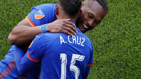 <p>               FC Cincinnati midfielder Allan Cruz (15) celebrates his goal with defender Kendall Waston during the second half of an MLS soccer match against the Portland Timbers, Sunday, March 17, 2019, in Cincinnati. (AP Photo/John Minchillo)             </p>