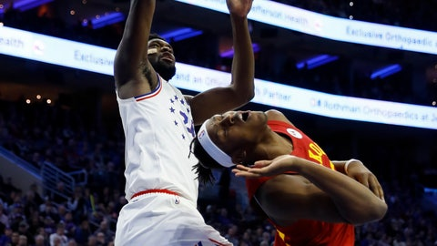 <p>               Philadelphia 76ers' Joel Embiid, left, goes up for a shot past Indiana Pacers' Myles Turner during the first half of an NBA basketball game, Sunday, March 10, 2019, in Philadelphia. (AP Photo/Matt Slocum)             </p>