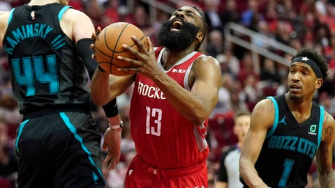 <p>               Houston Rockets' James Harden (13) shoots after being fouled by Charlotte Hornets' Malik Monk (1) as Frank Kaminsky (44) defends during the second half of an NBA basketball game Monday, March 11, 2019, in Houston. The Rockets won 118-106. (AP Photo/David J. Phillip)             </p>