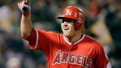 <p>               FIEL - In this April 3, 2017, file photo, Los Angeles Angels' Mike Trout celebrates after hitting a two-run home run off Oakland Athletics' Kendall Graveman in the third inning of a baseball game in Oakland, Calif. A person familiar with the negotiations tells The Associated Press Tuesday, March 19, 2019, that Trout and the Angels are close to finalizing a record $432 million, 12-year contract that would shatter the record for the largest deal in North American sports history. (AP Photo/Ben Margot, File)             </p>