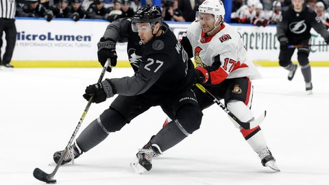 <p>               Tampa Bay Lightning defenseman Ryan McDonagh (27) cuts in front of Ottawa Senators left wing Brian Gibbons (17) during the first period of an NHL hockey game Saturday, March 2, 2019, in Tampa, Fla. (AP Photo/Chris O'Meara)             </p>