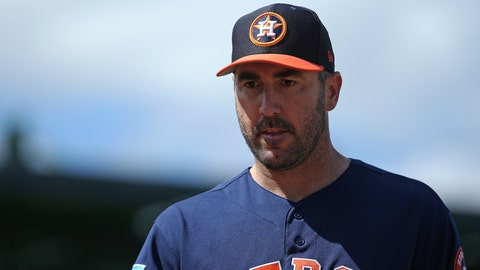 <p>               Houston Astros pitcher Justin Verlander walks into the dugout during the second inning against the Miami Marlins in a spring training baseball game at the Roger Dean Chevrolet Stadium on Thursday, March 7, 2019 in Jupiter, Fla.(David Santiago/Miami Herald via AP)             </p>