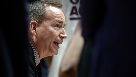 <p>               Texas A&M head coach Billy Kennedy talks with his players in the second half of an NCAA college basketball game against Vanderbilt at the Southeastern Conference tournament, Wednesday, March 13, 2019, in Nashville, Tenn. Texas A&M won 69-52. (AP Photo/Mark Humphrey)             </p>