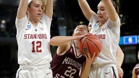 <p>               Missouri State's Alexa Willard (22) drives against Stanford's Lexie Hull (12) and Alanna Smith during the first half of a regional semifinal game in the NCAA women's college basketball tournament, Saturday, March 30, 2019, in Chicago. (AP Photo/Kiichiro Sato)             </p>