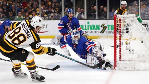<p>               Boston Bruins right wing David Pastrnak (88) beats New York Rangers goaltender Henrik Lundqvist for a goal during the second period of an NHL hockey game in Boston, Wednesday, March 27, 2019. (AP Photo/Charles Krupa)             </p>