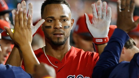 <p>               Boston Red Sox's Xander Bogaerts gets high-fives in the dugout after scoring during the seventh inning of the team's spring training baseball game against the Chicago Cubs on Monday, March 25, 2019, in Mesa, Ariz. (AP Photo/Sue Ogrocki)             </p>