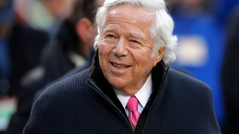 <p>               FILE - In this Jan. 20, 2019, file photo, New England Patriots owner Robert Kraft walks on the field before the AFC Championship NFL football game in Kansas City, Mo. Florida prosecutors have offered a plea deal to Kraft and other men charged with paying for illicit sex at a massage parlor. The Palm Beach State Attorney confirmed Tuesday, March 19, 2019, it has offered Kraft and 24 other men charged with soliciting prostitution the standard diversion program offered to first-time offenders.  (AP Photo/Charlie Neibergall, File)             </p>