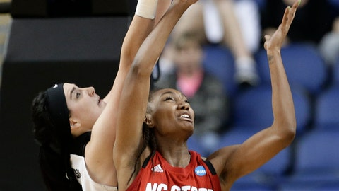 <p>               North Carolina State's DD Rogers (21) and Iowa's Megan Gustafson battle for a loose ball during the first half of a regional women's college basketball game in the NCAA Tournament in Greensboro, N.C., Saturday, March 30, 2019. (AP Photo/Gerry Broome)             </p>