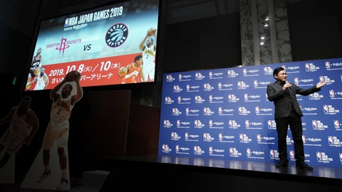 <p>               Japanese internet company Rakuten President and CEO Hiroshi Mikitani announces NBA Japan Games 2019 during a press conference Tuesday, March 5, 2019, in Tokyo. Mikitani announced that the NBA's Toronto Raptors and Houston Rockets will play on Oct. 8 and Oct. 10 at the Saitama Super Arena this year.(AP Photo/Eugene Hoshiko)             </p>