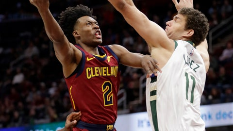 <p>               Cleveland Cavaliers' Collin Sexton (2) drives to the basket against Milwaukee Bucks' Brook Lopez (11) during the first half of an NBA basketball game Wednesday, March 20, 2019, in Cleveland. (AP Photo/Tony Dejak)             </p>
