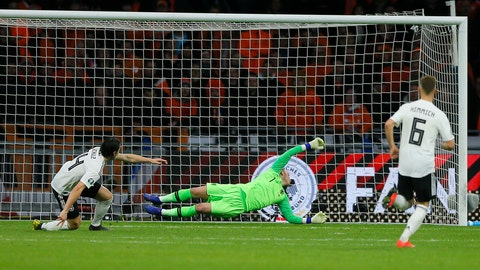 <p>               Germany's Nico Schulz scores his side's third goal during the Euro 2020 group C qualifying soccer match between Netherlands and Germany at the Johan Cruyff ArenA in Amsterdam, Sunday, March 24, 2019. (AP Photo/Peter Dejong)             </p>