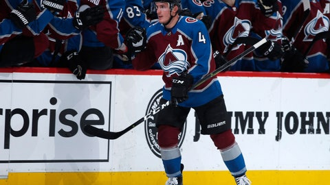 <p>               Colorado Avalanche defenseman Tyson Barrie, front, is congratulated for his goal against the Vegas Golden Knights during the second period of an NHL hockey game Wednesday, March 27, 2019, in Denver. (AP Photo/David Zalubowski)             </p>