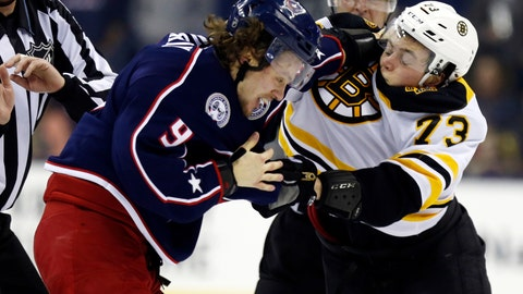 <p>               Columbus Blue Jackets forward Artemi Panarin, left, of Russia, and Boston Bruins defenseman Charlie McAvoy fight during the second period of an NHL hockey game in Columbus, Ohio, Tuesday, March 12, 2019. (AP Photo/Paul Vernon)             </p>