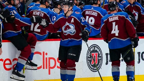 <p>               Colorado Avalanche center Nathan MacKinnon (29) celebrates a goal against the Buffalo Sabres with teammates on the bench during the second period of an NHL hockey game Saturday, March 9, 2019, in Denver. (AP Photo/Jack Dempsey)             </p>