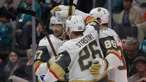 <p>               Vegas Golden Knights center Paul Stastny (26) is congratulated by teammates after scoring a goal against the San Jose Sharks during the second period of an NHL hockey game in San Jose, Calif., Monday, March 18, 2019. (AP Photo/Jeff Chiu)             </p>