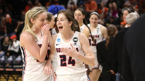<p>               Gonzaga's Katie Campbell (24) and Chandler Smith (30) celebrate their win over Little Rock following a first-round game of the NCAA women's college basketball tournament in Corvallis, Ore., Saturday, March 23, 2019. (AP Photo/Amanda Loman)             </p>
