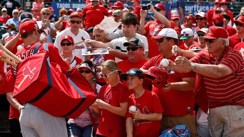 <p>               St. Louis Cardinals' Paul Goldschmidt (46) signs autographs for fans before an exhibition spring training baseball game against the Miami Marlins on Wednesday, March 13, 2019, in Jupiter, Fla. (AP Photo/Brynn Anderson)             </p>