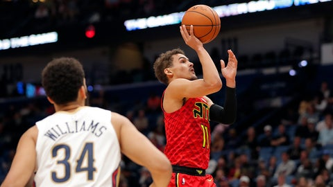 <p>               Atlanta Hawks guard Trae Young (11) shoots in the first half of an NBA basketball game against the New Orleans Pelicans in New Orleans, Tuesday, March 26, 2019. (AP Photo/Gerald Herbert)             </p>