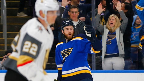<p>               St. Louis Blues' Ryan O'Reilly (90) celebrates after scoring a goal against the Vegas Golden Knights during the second period of an NHL hockey game Monday, March 25, 2019, in St. Louis. (AP Photo/Dilip Vishwanat)             </p>