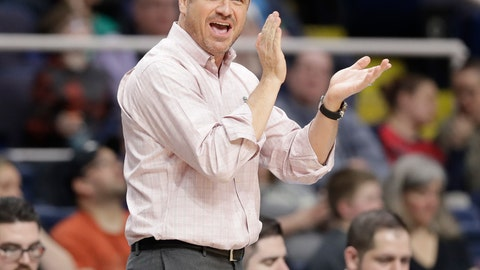 <p>               Louisville head coach Jeff Walz cheers his team on during the first half of a regional semifinal game against Oregon State in the NCAA women's college basketball tournament, Friday, March 29, 2019, in Albany, N.Y. (AP Photo/Kathy Willens)             </p>