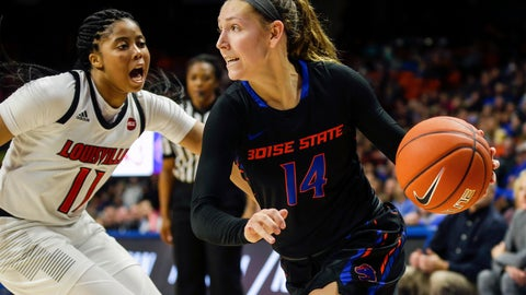 <p>               FILE - In this Nov. 19, 2018, file photo, Boise State guard Braydey Hodgins (14) drives with the ball against Louisville guard Arica Carter (11) in the second half of an NCAA college basketball game, in Boise, Idaho. Thirteenth-seeded Boise State (28-4) looks for its first-ever NCAA Tournament win on Saturday, March 23, 2019, against No. 4 seed Oregon State (24-7) at Gill Coliseum in Corvallis, the Broncos' opening step in the Albany Regional. Fifth-seeded Gonzaga (28-4) faces No. 12 Little Rock (21-10) in the other game. (AP Photo/Steve Conner, File)             </p>