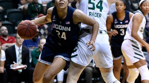 <p>               Connecticut's Napheesa Collier looks for the basket as she moves past South Florida's Alyssa Rader (54) during the first half of an NCAA basketball game Monday, March 4, 2019, in Tampa, Fla. (AP Photo/Steve Nesius)             </p>