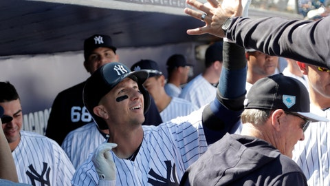 <p>               New York Yankees' Troy Tulowitzki celebrates in the dugout after hitting a solo home run in the first inning during a spring training baseball game against the Toronto Blue Jays, Monday, Feb. 25, 2019, in Tampa, Fla. (AP Photo/Lynne Sladky)             </p>