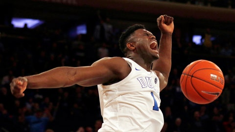 <p>               FILE - In this Dec. 20, 2018, file photo, Duke forward Zion Williamson (1) reacts after a dunk against Texas Tech during the first half of an NCAA college basketball game, in New York. Duke freshman Zion Williamson is both The Associated Press player and newcomer of the year in the Atlantic Coast Conference, Tuesday, March 12, 2019.(AP Photo/Adam Hunger, File)             </p>