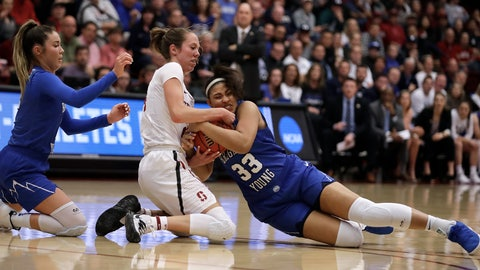 <p>               Stanford's Lacie Hull, center, fights for control of the ball with BYU forward Jasmine Moody (33) and BYU's Shaylee Gonzales, left, during the first half of a second-round game in the NCAA women's college basketball tournament Monday, March 25, 2019, in Stanford, Calif. (AP Photo/Ben Margot)             </p>