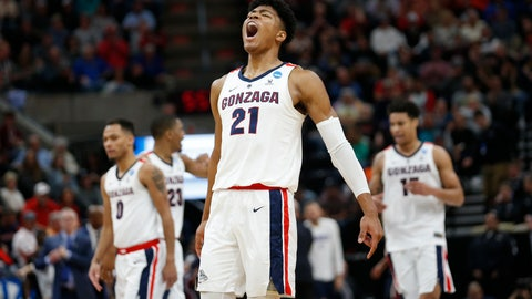 <p>               Gonzaga forward Rui Hachimura (21) celebrates after Gonzaga scored against Fairleigh Dickinson during the first half of a first-round game in the NCAA men's college basketball tournament Thursday, March 21, 2019, in Salt Lake City. (AP Photo/Rick Bowmer)             </p>