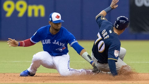 <p>               Milwaukee Brewers' Nate Orf steals second base ahead of the tag by Toronto Blue Jays second baseman Lourdes Gurriel Jr. during the fifth inning of a spring training baseball game against the Milwaukee Brewers in Montreal on Tuesday, March 26, 2019. (Paul Chiasson/The Canadian Press via AP)             </p>