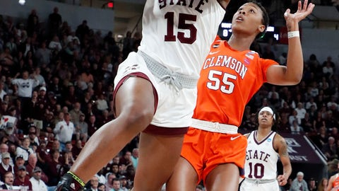 <p>               Mississippi State center Teaira McCowan (15) shoots a layup past Clemson forward Tylar Bennett (55) during the first half of a second-round women's college basketball game in the NCAA Tournament in Starkville, Miss., Sunday, March 24, 2019. (AP Photo/Rogelio V. Solis)             </p>