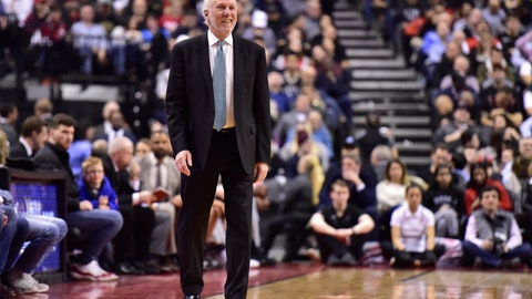 <p>               San Antonio Spurs coach Gregg Popovich watches the team play the Toronto Raptors during the second half of an NBA basketball game Friday, Feb. 22, 2019, in Toronto. (Frank Gunn/The Canadian Press via AP)             </p>