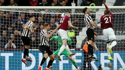 <p>               West Ham United's Declan Rice, centre , cores his side's first goal of the game during the English Premier League soccer match between West Ham and Newcastle United at London Stadium, in London, Saturday March 2, 2019. (Paul Harding/PA via AP)             </p>