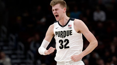 <p>               Purdue's Matt Haarms reacts after scoring a basket during the first half of the team's NCAA college basketball game against Minnesota in the quarterfinals of the Big Ten men's tournament Friday, March 15, 2019, in Chicago. (AP Photo/Nam Y. Huh)             </p>
