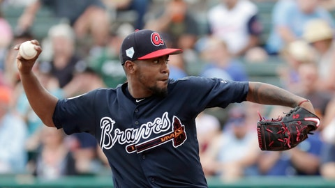 <p>               Atlanta Braves' Julio Teheran pitches against the Houston Astros in the second inning of a spring baseball exhibition game, Monday, March 4, 2019, in Kissimmee, Fla. (AP Photo/John Raoux)             </p>
