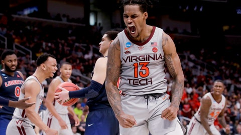 <p>               Virginia Tech guard Ahmed Hill celebrates after scoring against Liberty during the second half of a second-round game in the NCAA men's college basketball tournament Sunday, March 24, 2019, in San Jose, Calif. (AP Photo/Jeff Chiu)             </p>