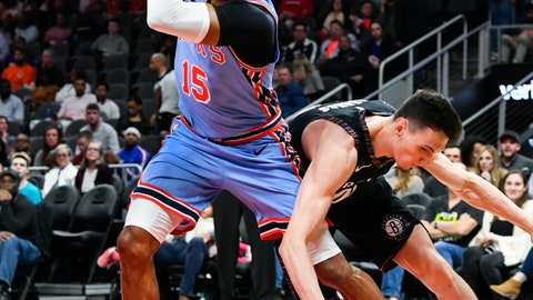 <p>               Atlanta Hawks forward Vince Carter (15) grabs a loose ball from going out of bounds as Brooklyn Nets forward Rodions Kurucs goes for it during the first half of an NBA basketball game, Saturday March 9, 2019, in Atlanta. (AP Photo/John Amis)             </p>