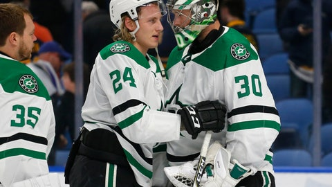 <p>               Dallas Stars forward Roope Hintz (24) and goalie Ben Bishop (30) celebrate the team's 2-0 victory over the Buffalo Sabres in an NHL hockey game Tuesday, March 12, 2019, in Buffalo, N.Y. (AP Photo/Jeffrey T. Barnes)             </p>